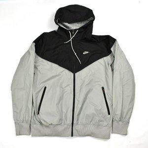 Nike Windbreaker Jacket Mens Size XL Black Gray